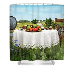 Shower Curtain featuring the digital art Tea For Two by Jutta Maria Pusl