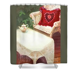 Shower Curtain featuring the painting Tea In A Victorian Cottage Garden by Nancy Lee Moran