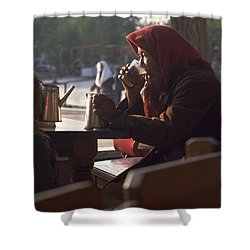 Shower Curtain featuring the photograph Tea In Tashkent by Travel Pics