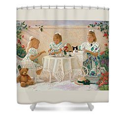 Shower Curtain featuring the pastel Tea In The Rose Garden by Nancy Lee Moran