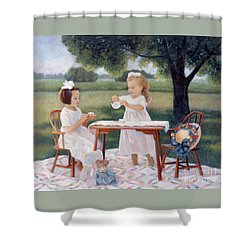 Shower Curtain featuring the pastel Tea Party by Nancy Lee Moran