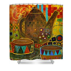 Tea Party With Klimt Shower Curtain by Robin Maria Pedrero