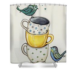 Tea Time Friends Shower Curtain by Elizabeth Robinette Tyndall