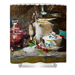 Tea Time Shower Curtain by Khalid Saeed