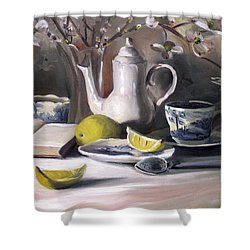 Shower Curtain featuring the painting Tea With Lemon by Nancy Griswold