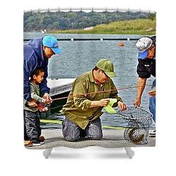 Teach Him To Fish Shower Curtain