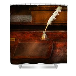 Teacher - The Writing Desk Shower Curtain by Mike Savad