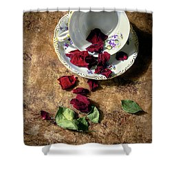 Teacup And Red Rose Petals Shower Curtain