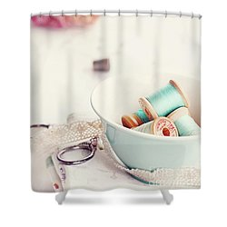 Teacup Full Of Vintage Spools Of Thread Shower Curtain