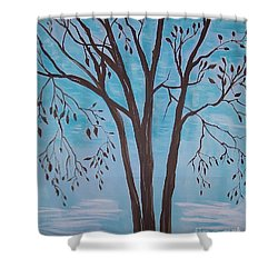Shower Curtain featuring the painting Teal And Brown by Leslie Allen