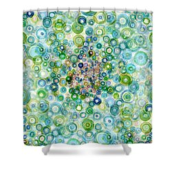 Teal And Olive Concavity Shower Curtain