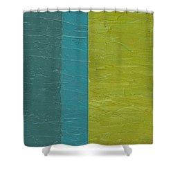 Teal And Olive  Shower Curtain by Michelle Calkins