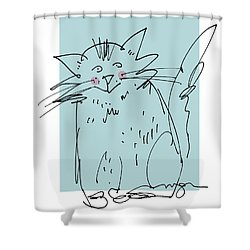 Teal Cat Shower Curtain