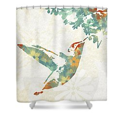 Floral Hummingbird Art Shower Curtain