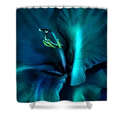 Teal Gladiola Flower Shower Curtain by Jennie Marie Schell