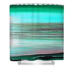 Teal Panoramic Sunset Shower Curtain by Gina De Gorna