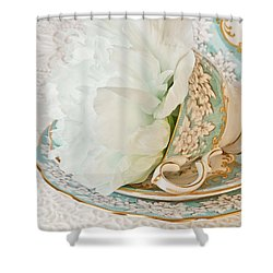 Teal Peony For Real  Shower Curtain