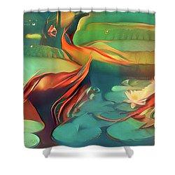 Teal Waterlilies 3 Shower Curtain