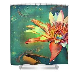 Teal Waterlilies 5 Shower Curtain