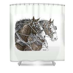 Team Work - Clydesdale Draft Horse Print Color Tinted Shower Curtain