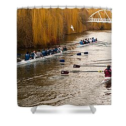 Teams Of Rowers On River Cam Shower Curtain