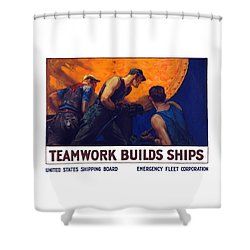 Teamwork Builds Ships Shower Curtain by War Is Hell Store
