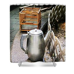 Teapot And Birdcage Shower Curtain by Ethna Gillespie