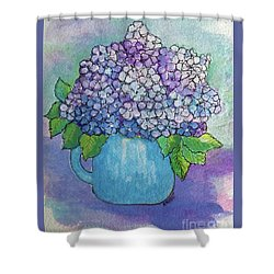 Shower Curtain featuring the painting Teapot Hydranger by Rosemary Aubut