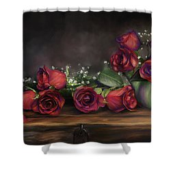 Teapot Roses Shower Curtain