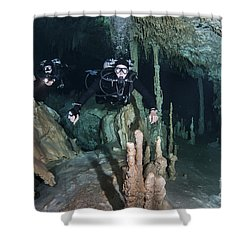 Technical Divers In Dreamgate Cave Shower Curtain by Karen Doody