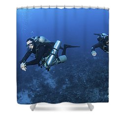 Technical Divers With Equipment Shower Curtain by Karen Doody