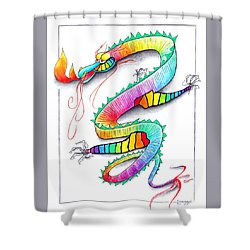 Technicolor Dragon -- Rainbow-colored Whimsical Dragon  Shower Curtain by Jayne Somogy