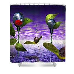 Techno Nature - Flower Drills Shower Curtain by Billie Jo Ellis