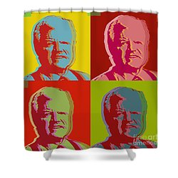 Shower Curtain featuring the digital art Ted Kennedy by Jean luc Comperat