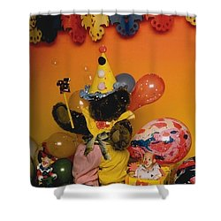 Teddy Bear Celebrates, Birthday Teddy Bear Shower Curtain