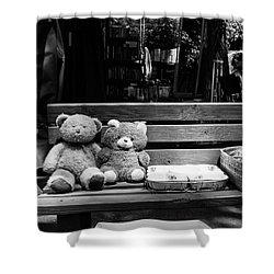 Teddy Bear Lovers On The Bench Shower Curtain by Yoel Koskas