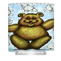 Shower Curtain featuring the painting Teddy Bear by Kevin Middleton