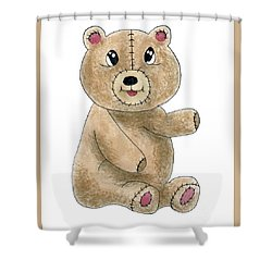 Teddy Bear Watercolor Painting Shower Curtain