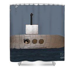 Teddy In Submarine Shower Curtain by Reb Frost