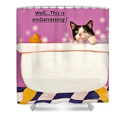 Teddy The Ninja Cat Up Close And Personal Shower Curtain by Reb Frost