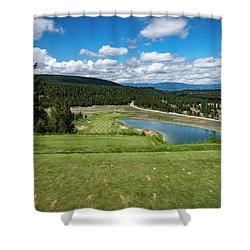 Shower Curtain featuring the photograph Tee Box With As View by Darcy Michaelchuk