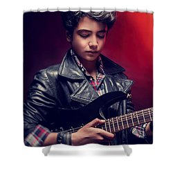 Teen Guy Playing On Guitar Shower Curtain