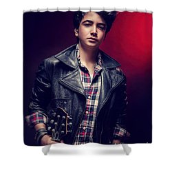Teen Guy Posing With Guitar Shower Curtain