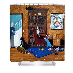 Teen Sitting In Chair Enjoying A Brandy In Father's Den Shower Curtain by John Lyes