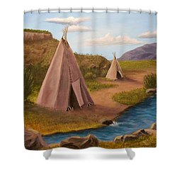 Teepees On The Plains Shower Curtain by Sheri Keith