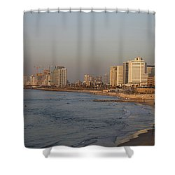 Tel Aviv Coast. Shower Curtain by Shlomo Zangilevitch