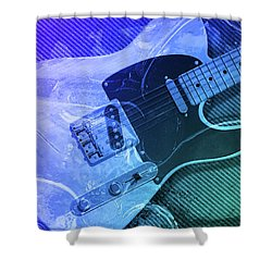 Shower Curtain featuring the digital art Tele Blue by WB Johnston