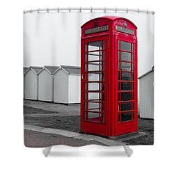 Telephone Box By The Sea I Shower Curtain
