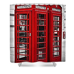 Telephone Boxes In London Shower Curtain by Elena Elisseeva
