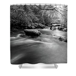 Tellico Waters In Black And White Shower Curtain